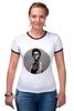"Футболка ""Рингер"" (Женская) ""Девушка скелет"" - skull, арт, девушка, скелет, рисунок, мрачно, бодиарт"