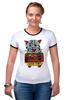 "Футболка Рингер ""кот суши"" - кот, cat, суши, япония"
