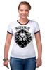 """Футболка """"Рингер"""" (Женская) """"WILD & FREE"""" - кредо, wild, лев, lion, девиз"""