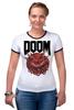 """Футболка """"Рингер"""" (Женская) """"Doom game """" - games, игра, game, doom, 90's, video games, дум, игы"""