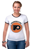 "Футболка ""Рингер"" (Женская) ""Philadelphia Flyers"" - спорт, хоккей, nhl, нхл, филадельфия флайерз"