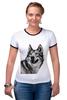 """Футболка """"Рингер"""" (Женская) """"Добродушный волк"""" - хищник, animal, волк, wolf"""