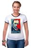 """Футболка """"Рингер"""" (Женская) """"Путин, Власть"""" - россия, russia, президент, obey, putin"""
