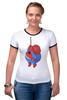 """Футболка """"Рингер"""" (Женская) """"Fat Spiderman"""" - spider-man, человек-паук, обжорство, спайдермен"""