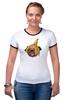 """Футболка Рингер """"Мопс и банановая кожура"""" - pug, пёс, банан, мопс, банановая кожура"""
