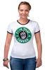 "Футболка Рингер ""нах этот кофе (f**k that coffee)"" - скелет, пародия, кофе, starbucks, старбакс"