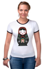 """Футболка Рингер """"Матрешка"""" - матрешка, россия, russia, символика, патриотические футболки, matryoshka"""