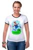 "Футболка ""Рингер"" (Женская) ""Марио (Mario)"" - nintendo, mario, марио"