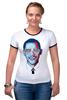 "Футболка Рингер ""Барак Обама"" - арт, usa, сша, президент, president, barack obama"