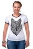"Футболка Рингер ""волк (wolf)"" - графика, волк, wolf, дотворк"