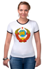 """Футболка """"Рингер"""" (Женская) """"Герб СССР"""" - ссср, ussr, россия, герб"""