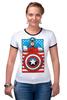 "Футболка ""Рингер"" (Женская) ""Капитан Америка. Винтаж"" - comics, marvel, poster, марвел, vintage, капитан америка, captain america"