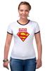 """Футболка Рингер """"Super Sister"""" - 8 марта, женский день, сестре, сестра, sister"""
