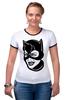 """Футболка """"Рингер"""" (Женская) """"Женщина-кошка (Catwoman)"""" - batman, бэтмен, женщина-кошка, catwoman, dc comics"""