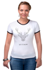 """Футболка Рингер """"Dear Deer"""" - рисунок, дизайн, олень, минимализм, рога"""