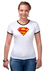 "Футболка ""Рингер"" (Женская) ""Супермен"" - comics, супермен, superman"