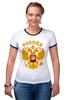 """Футболка Рингер """"Россия герб"""" - патриот, русская, родина, держава, горжусь"""