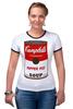 """Футболка """"Рингер"""" (Женская) """"Campbell's Soup (Энди Уорхол)"""" - поп арт, энди уорхол, pop art, andy warhol"""
