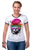 """Футболка Рингер """"Пляжный Кот"""" - кот, лето, солнце, cat, пляж"""