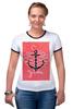 "Футболка ""Рингер"" (Женская) ""Je t'aime"" - любовь, море, якорь, anchor"