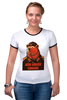 """Футболка """"Рингер"""" (Женская) """"Comrade"""" - bear, медведь, погоны, товарищ"""