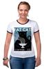 """Футболка """"Рингер"""" (Женская) """"Fat Cat"""" - любовь, кот, кошка, кофе"""