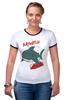 "Футболка ""Рингер"" (Женская) ""Акула (Baywatch)"" - акула, shark, спасатели малибу, baywatch"