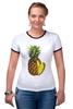 "Футболка ""Рингер"" (Женская) ""ананас"" - ананас, фрукт, pineapple"