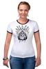 "Футболка Рингер ""Череп индейца"" - череп, индеец, перья, череп индейца, череп с перьями"