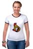 """Футболка """"Рингер"""" (Женская) """"Ottawa Senators"""" - хоккей, nhl, ottawa senators, канада, оттава"""