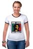 """Футболка """"Рингер"""" (Женская) """"Bob Marley """" - любовь, регги, боб марли, reggae, ska, jamaica"""