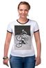 """Футболка """"Рингер"""" (Женская) """"девушка на велосипеде"""" - спорт, bmx, велосипед, street, bike, стрит, biking, велоспорт, девушка на велосипеде, дерт"""