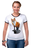 """Футболка """"Рингер"""" (Женская) """"Лисица"""" - животные, red, рисунок, fox, лиса, рыжая"""