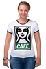 "Футболка ""Рингер"" (Женская) ""Starbucks (Obey)"" - кофе, obey, starbucks, старбакс, cafe"