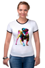 """Футболка """"Рингер"""" (Женская) """"Мопс-космос"""" - радуга, dog, pug, космос, собака, цветная, мопс, suit"""
