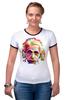 """Футболка """"Рингер"""" (Женская) """"Альберт Эйнштейн (Albert Einstein)"""" - albert einstein, физика, полигоны, polygons, альберт эйнштейн"""
