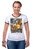 """Футболка Рингер """"Terremoto"""" - винтаж, динозавры, афиша, kinoart, легенда о динозавре"""