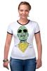 "Футболка ""Рингер"" (Женская) ""Психоделика"" - zombie, зомби, green, shades"