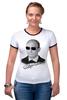"Футболка Рингер ""Владимир Путин в очках by Hearts of Russia"" - россия, путин, президент, putin, вочках"