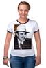 """Футболка """"Рингер"""" (Женская) """"Аль Капоне"""" - череп, пистолет, авторские майки, ny, кости, шляпа, пуля, chicago, нью йорк, гангстер"""