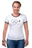 """Футболка Рингер """"нераскрывшееся олимпийское кольцо"""" - олимпиада, 2014, сочи, олимпийские кольца, нераскрывшееся олимпийское кольцо"""