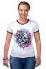 """Футболка Рингер """"Череп"""" - skull, череп, цветы, roses"""