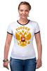 """Футболка Рингер """"Россия герб"""" - русский, патриот, родина, держава, горжусь"""