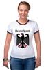 """Футболка """"Рингер"""" (Женская) """"Германия"""" - страны, герб, символика, германия"""