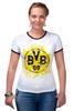 "Футболка ""Рингер"" (Женская) ""боруссия дортмунд"" - логотип, германия, боруссия, дортмунд"