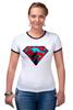 """Футболка """"Рингер"""" (Женская) """"superman"""" - superman, супергерои"""