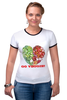"""Футболка """"Рингер"""" (Женская) """"GO VEGGIE!"""" - вегетарианец, сыроед, овощи, veggies"""