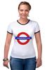 "Футболка ""Рингер"" (Женская) ""Underground"" - арт, стиль, рисунок, london, метро, uk, metro, метрополитен, подземка"