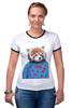 "Футболка ""Рингер"" (Женская) ""Красная панда"" - арт, red, девушке, panda, animal, красная панда, dressed"