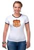 "Футболка ""Рингер"" (Женская) ""Route 66"" - арт, авторские майки, америка, usa, дорога, road, сша, путешествие, los angeles, california"